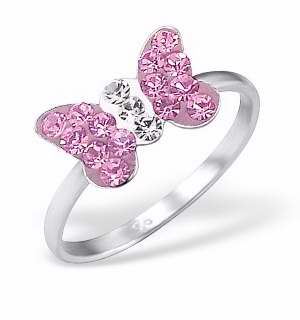 Rose Crystal Sterling Silver Butterfly Ring