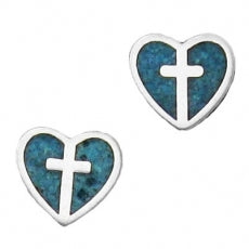 Turquoise heart w/Cross Inside SE4422