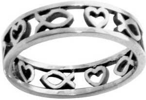 Sterling Silver Ichthus/Heart Cutout Christian Ring