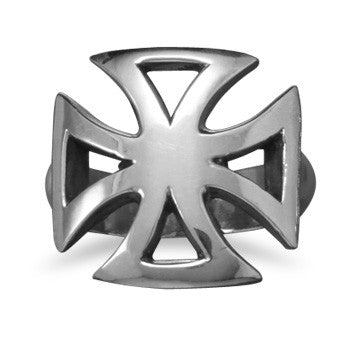 White Brass Maltese Men's Cross Ring