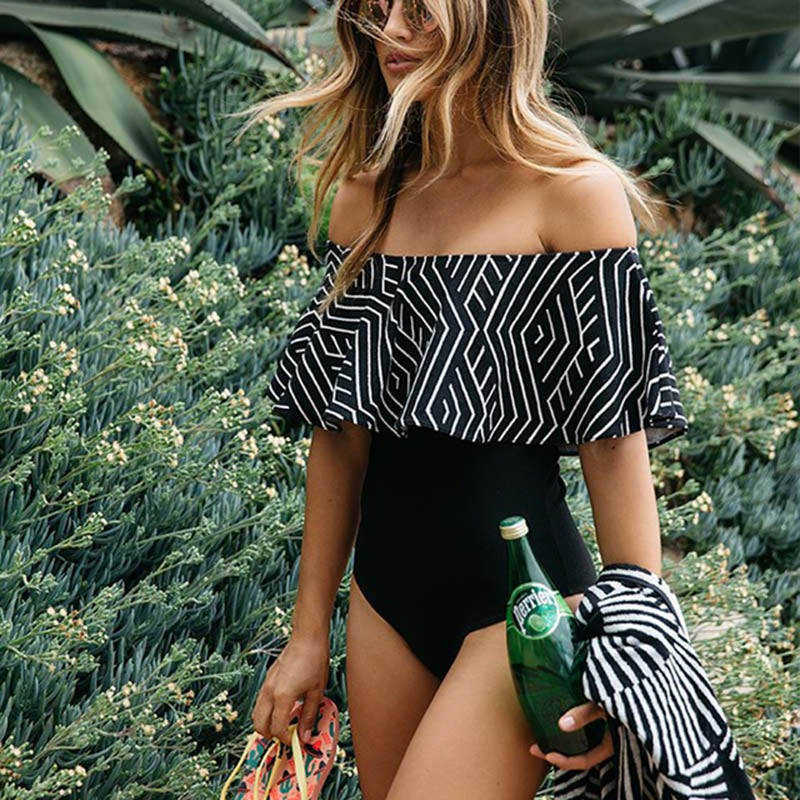 Monochrome Off Shoulder Swimsuit