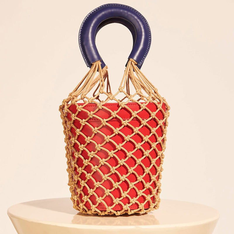 Netted Straw Bucket Bag