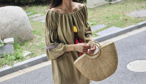 Handmade Half Moon Shaped Straw Bag