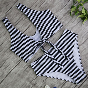 Striped High Waist Two Piece