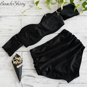 Off Shoulder Swimsuit 2017 New Arrival Strapless Bandeau Sexy Bikini Set Women Swimwear  High Waist Black Backless Bathing Suits
