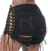 Laced Up Ripped Denim Shorts