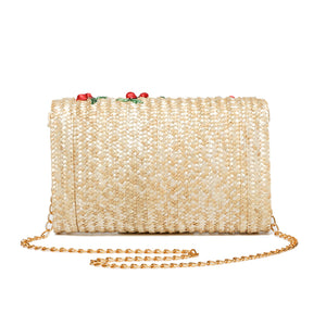 Chic Embroidery Cherry Crossbody Straw Chain Bag