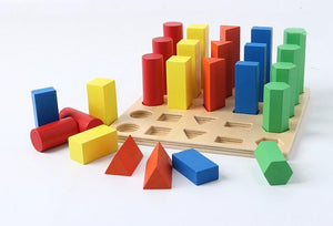 Montessori Geometric Wooden Assembly Blocks