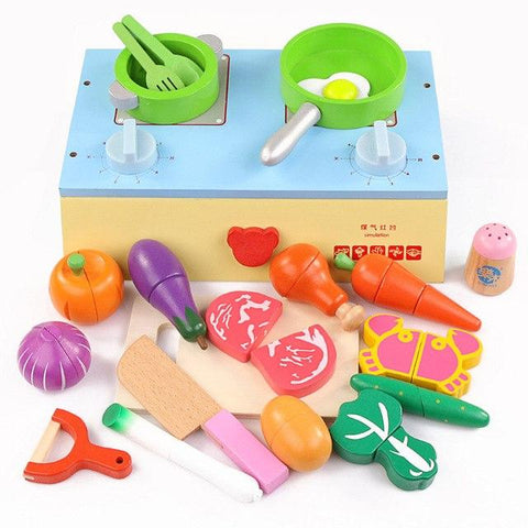 Wooden Kitchen Stove Playset