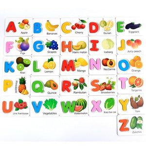 26 PC Wooden Alphabet Fruit & Vegetable 3D Puzzle Set
