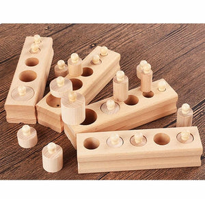 Montessori Educational Wooden Cylinder Learning Blocks