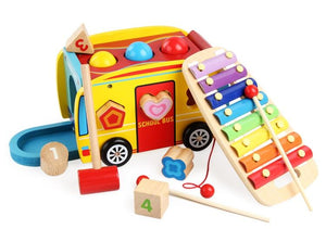 Multi Educational Noise Maker School Bus Xylophone Wooden Set