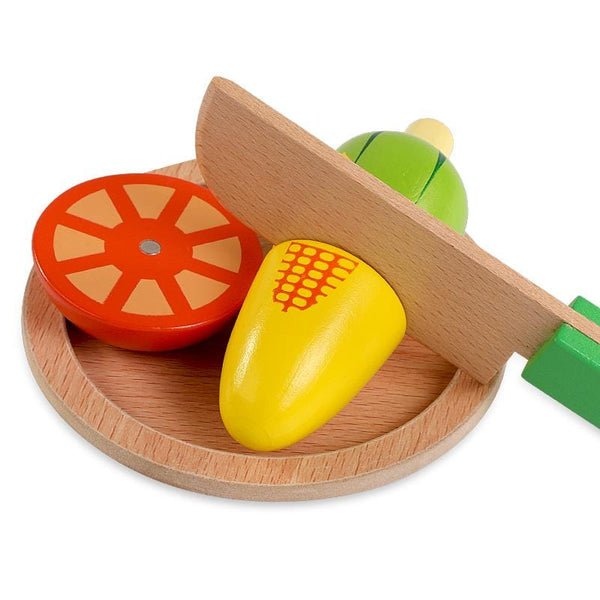 Wooden Fruits And Vegetables Cutting Play Set