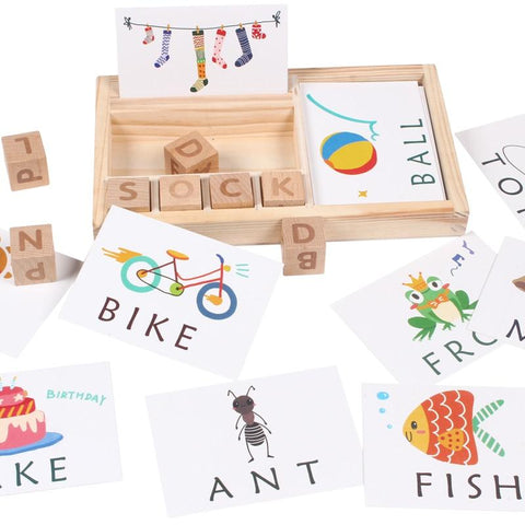 60 Card Educational Wooden Spelling Game