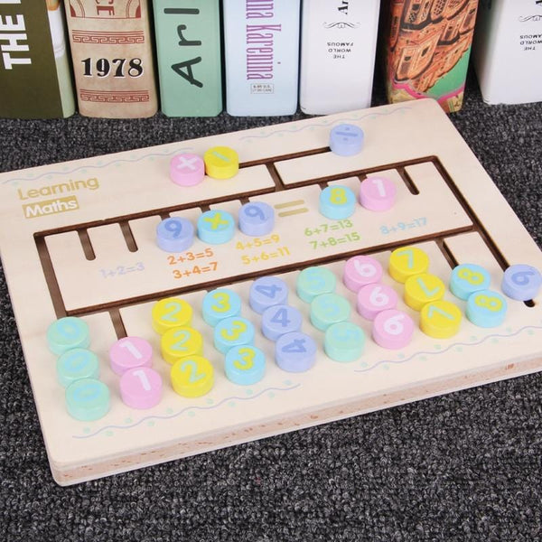 Wooden Arithmetic Puzzle Learning Board