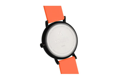 Neon orange silicone watch with matte black watch case. Ksana engraved with unique serial number. Colourful, neon watch strap in neon orange.