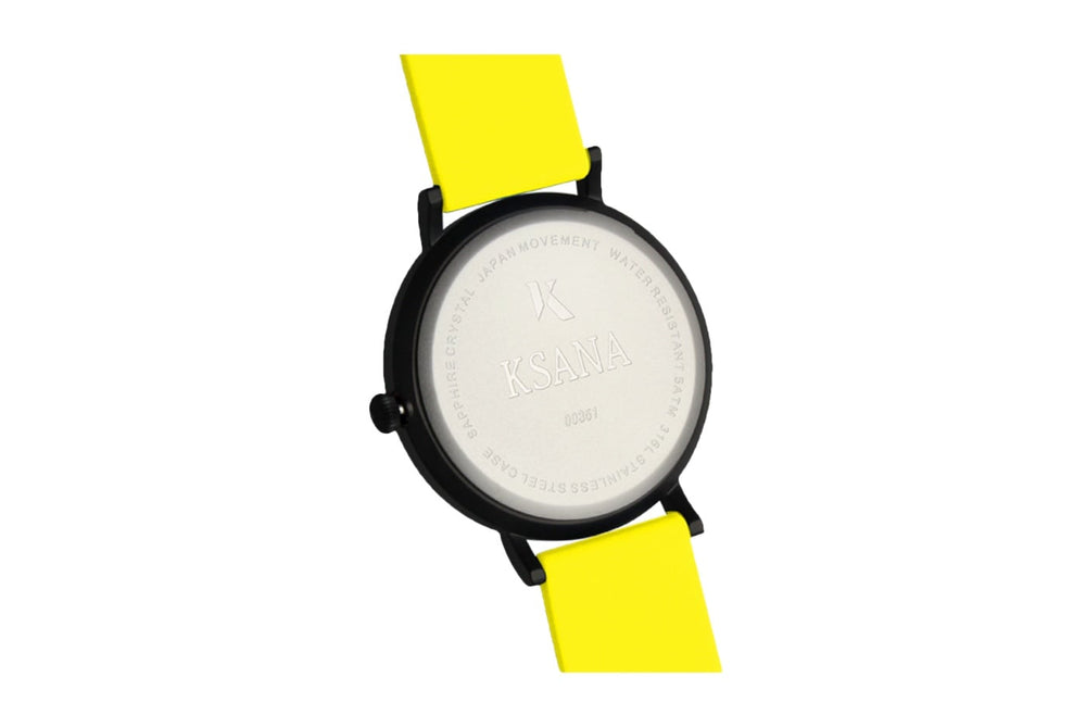 Neon yellow silicone watch with matte black watch case. Ksana engraved with unique serial number. Colourful, neon watch strap in yellow.