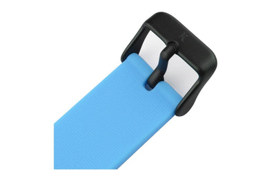 Neon blue silicone watch with matte black watch buckle. Colourful, neon watch strap in neon blue.