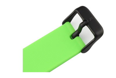 Neon green silicone watch with matte black watch buckle. Colourful, neon watch strap in green.