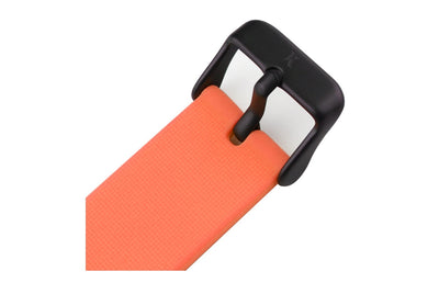 Neon orange silicone watch with matte black watch buckle. Colourful, neon watch strap in neon orange.