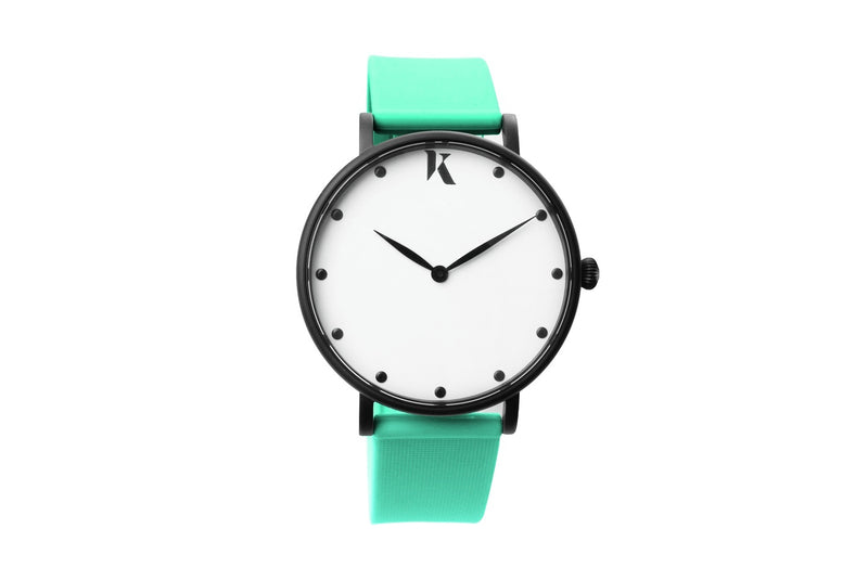 Mint green silicone watch with matte black watch case. Colourful, neon watch strap in mint green.