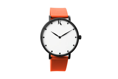 Neon orange silicone watch with matte black watch case. Colourful, neon watch strap in neon orange.