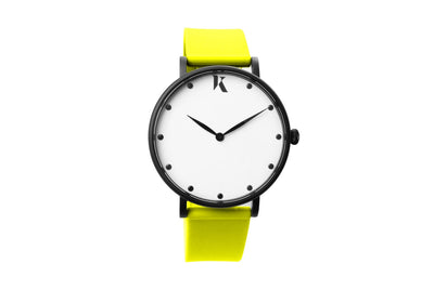 Neon yellow silicone watch with matte black watch case. Colourful, neon watch strap in yellow.