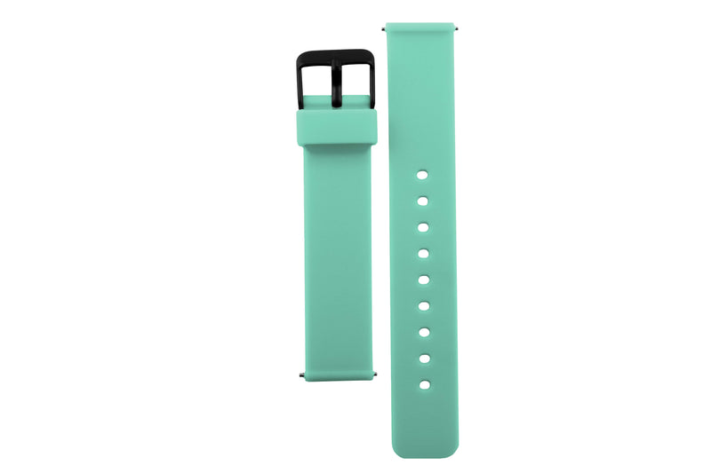 Colourful, mint green silicone watch strap with matte black watch buckle.