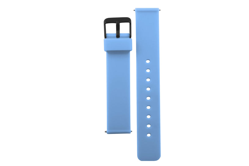 Colourful, neon blue silicone watch strap with matte black watch buckle.