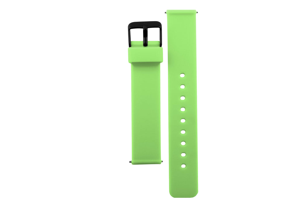 Neon green silicone watch with matte black watch buckle. Colourful, neon watch strap in neon green.
