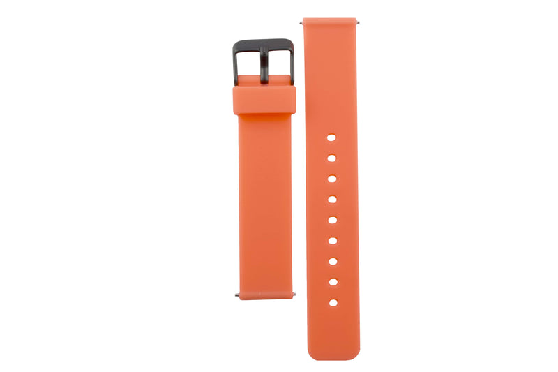 Colourful, neon orange silicone watch strap with matte black watch buckle.