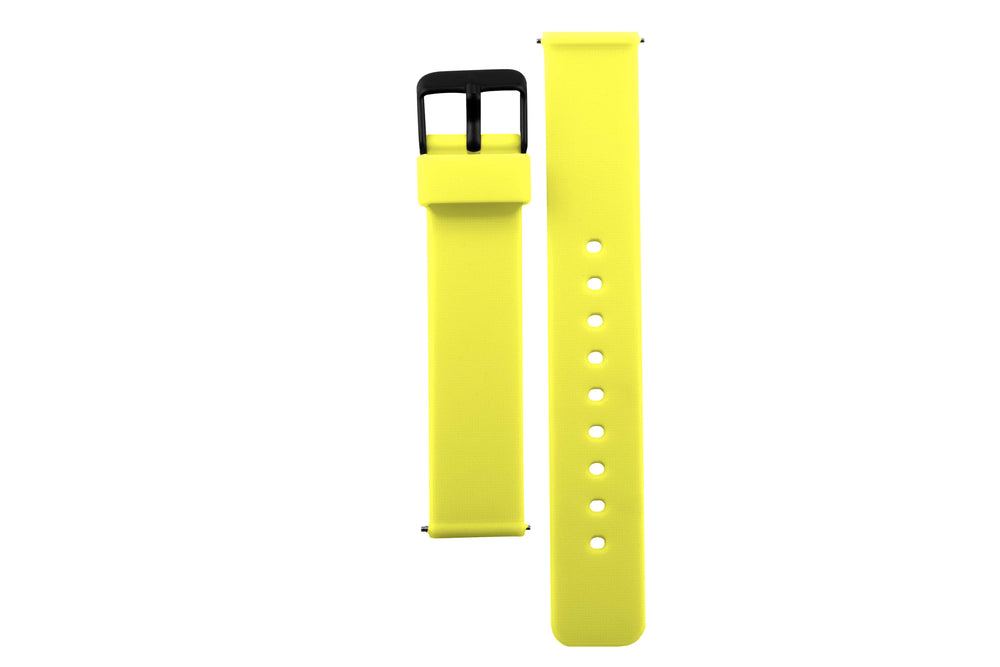 Colourful, neon yellow silicone watch strap with matte black watch buckle.