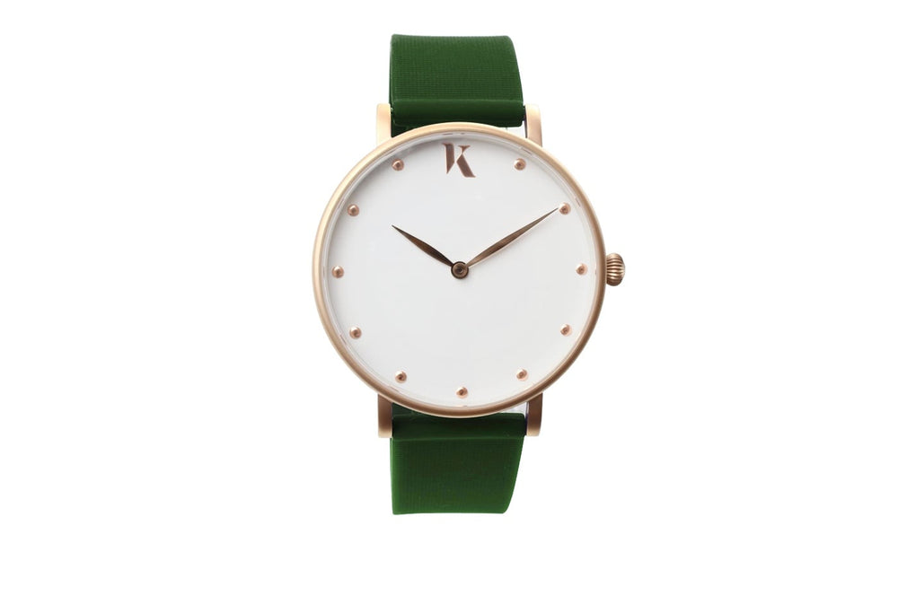 Dark Green and rose gold watch. Vegan silicone watch strap with minimalist watch face design.