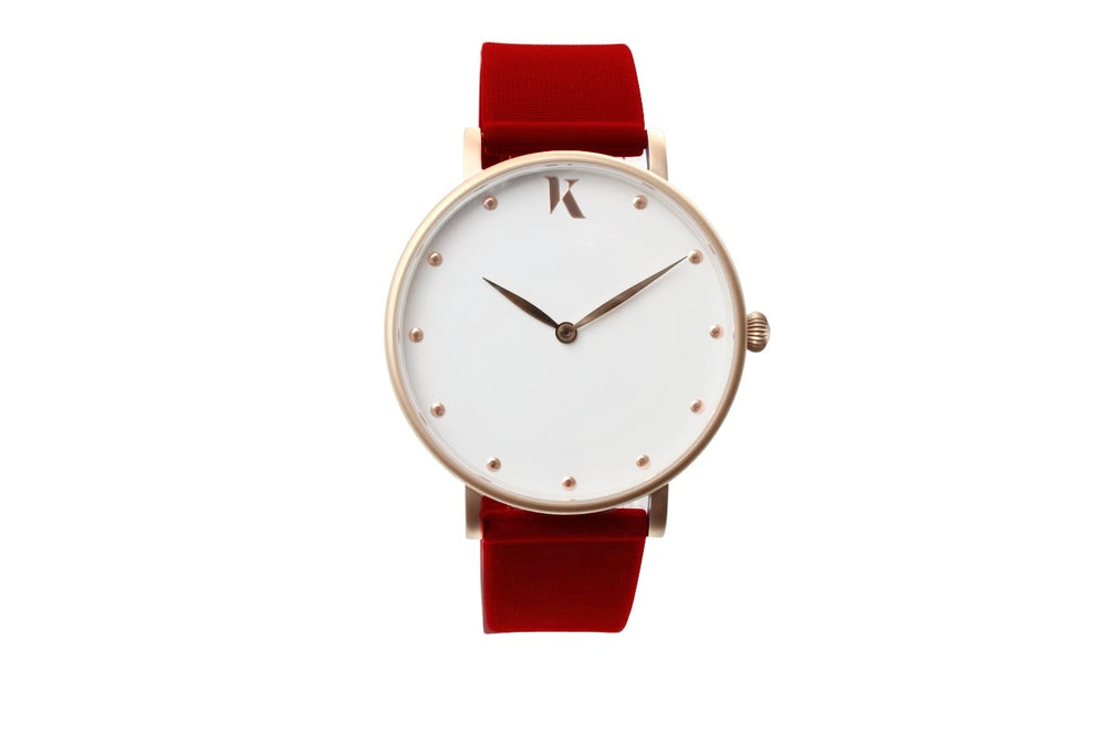 Dark red and rose gold watch. Vegan silicone watch strap with minimalist watch face design.