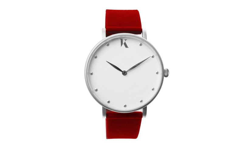 Dark red and silver watch. Vegan silicone watch strap with minimalist watch face design.
