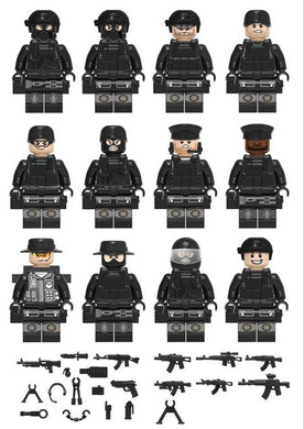 Military SWAT Teams Figure Set City Police Weapon 12 Figure Set