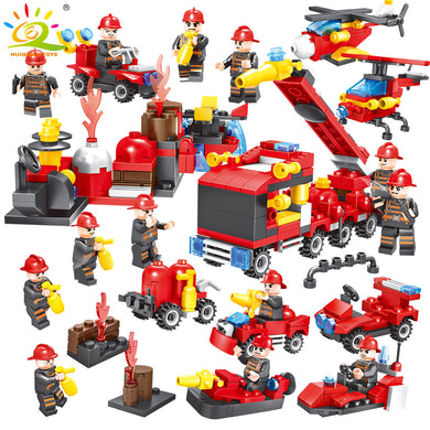 8 in 1 Fire Truck Firefighter City Rescue Helicopter Building Blocks 376 Pieces