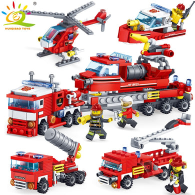 Fire Fighting 4 in 1 Trucks Car Helicopter Boat Building Blocks 348 Pieces