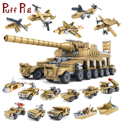 16 in 1 Army Tank Military Vehicles 544 Pieces