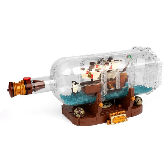 1078Pcs Pirate Ship Boat In The Bottle