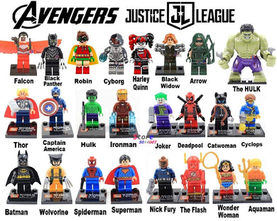 Marvel The Avengers DC Justice League Figures Ironman Spiderman Batman hulk Thor The Flash 24 Figure Set