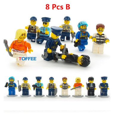 Police Man Fireman Magician Teacher Nurse 8 Figure Set