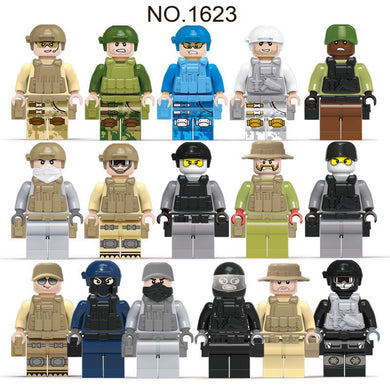Military Special Forces Soldiers Guns Weapons Armed SWAT WW2 12 Figure Set