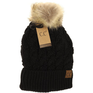 Cable Knit Fur Pom CC Beanies - Adult