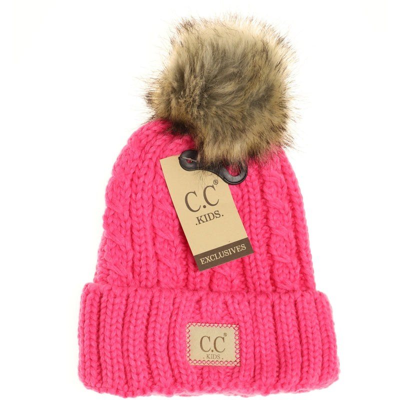 Cable Knit SINGLE Fur Pom CC Beanies - Kids