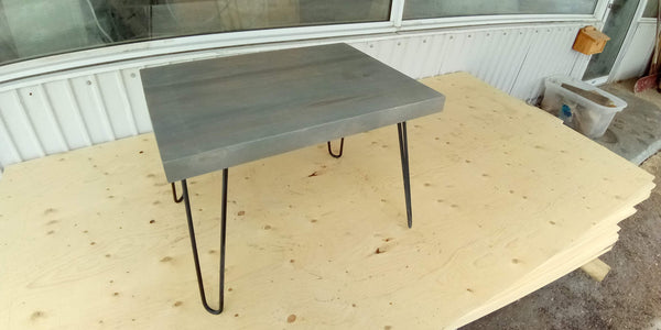 coffee table 24x18 classic gray hairpin legs FREE Shipping - Online Wood Worker