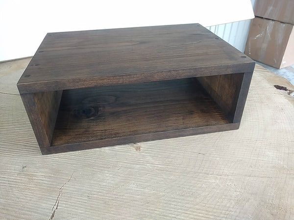Floating nightstand bedside table  Stained Dark Walnut - Online Wood Worker