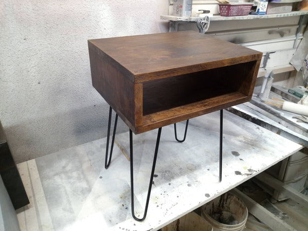 Nightstand with hairpin legs mid century bedside table bedroom vanity - Online Wood Worker