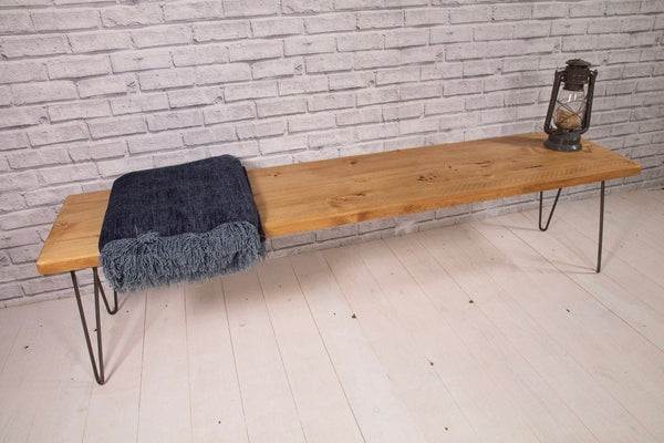 Bench entry way bench porch bench table bench hairpin legs mid century modern Offered in several colors - Online Wood Worker