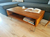 Coffee Table Rustic mid century modern with Hairpin Legs Offered in several colors - Online Wood Worker